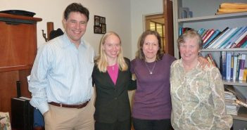 (L-R) Psychology professor Josh Brown, former Ph.D student Amie Senland, psychology professor Rachel Annunziato, and the late Kathleen Schiaffino.