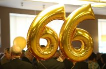 Golden balloons decorate the Class of 1966's 50th reunion cocktail party.