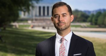 Fordham alumnus and Iraq War veteran Jayson Browder on the National Mall in Washington, D.C., where he heads up the nonprofit Veterans for Global Leadership