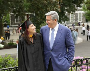 Mike McGonigle and his youngest daughter, Claire, at Fordham's 2017 Commencement