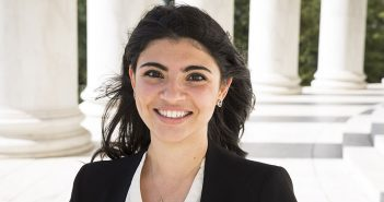 Fordham alumna Sama Habib, a Foreign Service officer, at the Jefferson Memorial in Washington, D.C.