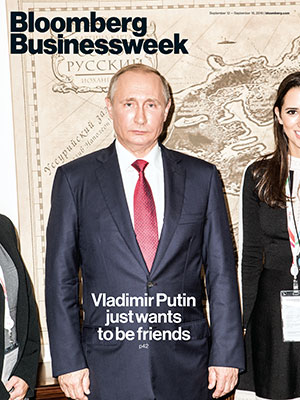 Making the cover: Hordern is pictured to the right of the Russian president. (Photo by Jeremy Liebman, courtesy of Bloomberg Businessweek)