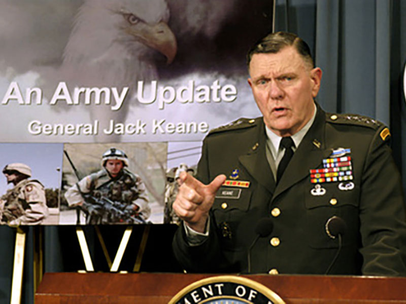 Gen. Jack Keane, then acting chief of staff of the U.S. Army, briefs Pentagon reporters on how the Army is supporting Operation Iraqi Freedom, July 23, 2003. (Department of Defense)