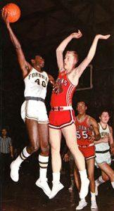 John Stevens grabs a basketball mid-air