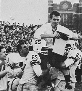 David Langdon is carried off the football field after a big victory.