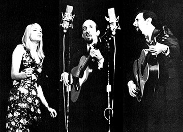 Peter, Paul, and Mary performing in the Rose Hill Gym, November 1964.