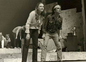 Sally Benner on stage during her time in Fordham's Mimes and Mummers