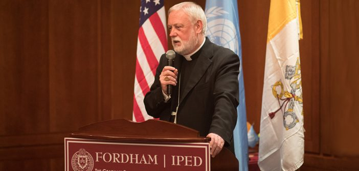 CAPP/Fordham Dinner to Welcome His Excellency Archbishop Paul Ricard Gallagher, Secretary for Relations with States and Head of the Holy Seeís Delegation to the Opening of the 72nd UN General Assembly. 9/25/17 Photo by John O'Boyle