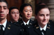Esther Kim, one of the first women officers to train for combat roles in the U.S. military, is shown at her May 2016 commissioning at the University Church.