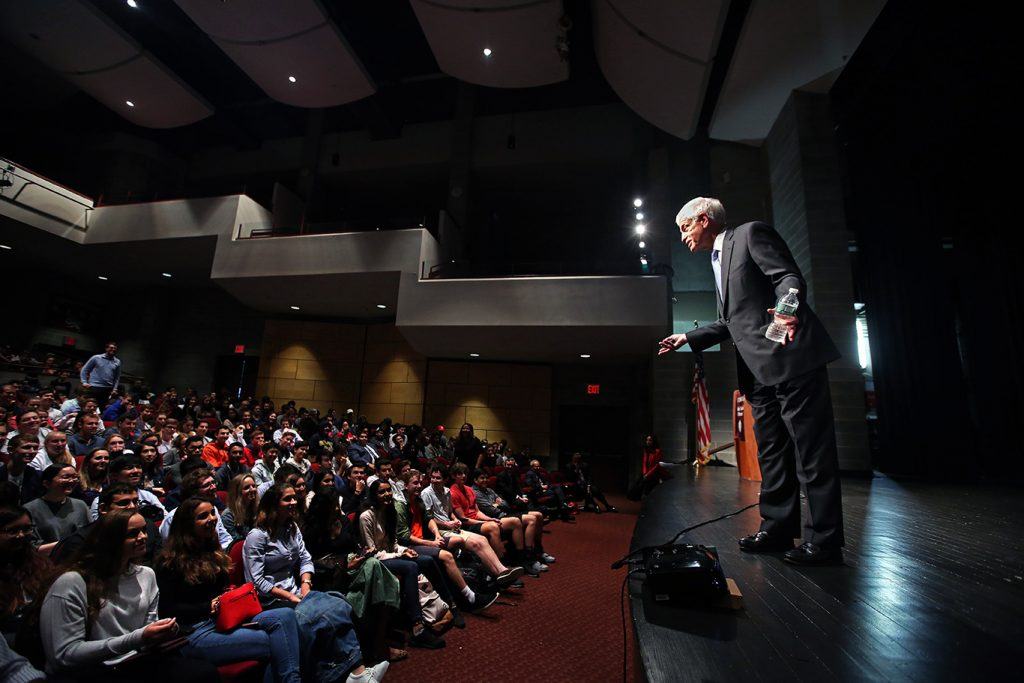 Mario Gabelli speaks at the Leonard Theater at Fordham Preparatory School.