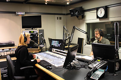 Candela interviewing Neal Rosenstein, government reform coordinator at NYPIRG, for the campaign finance episode of her Prickly Politics podcast (photo by Andrew Seger/WFUV News)