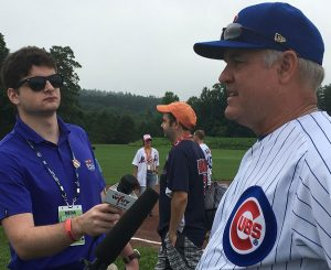 Furlong interviews Hall of Famer Ryne Sandberg in July 2017, during the National Baseball Hall of Fame Induction weekend in Cooperstown, New York.