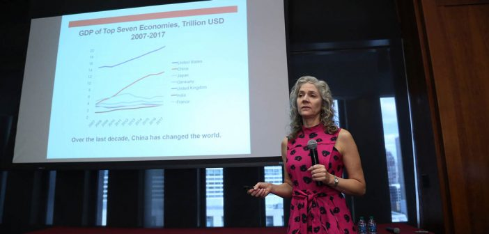 "Keynote speaker Jennifer Carpenter presents her research, ""The Real Value of China's Stock Market."""