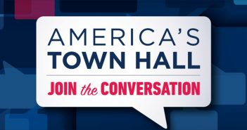 """America's Town Hall"" poster from the National Constitution Center"