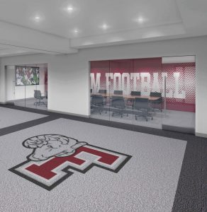 A rendering of a room for the Football Office Renovation and Improvement Project.