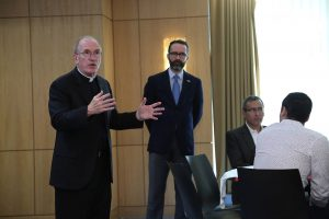 Joseph M. McShane, SJ, speaks at the Rose Hill campus