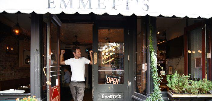 Fordham alumnus Emmett Burke at his restaurant on MacDougal St, photo by B.A. Van Sise
