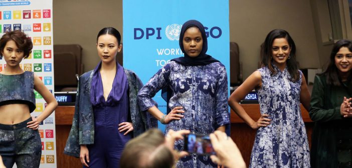 Models showcase sustainable fashions at the United Nations in New York on November 26, 2017.