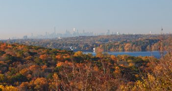 The view of New York City from the Calder Center