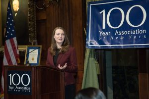Gabelli School of Business senior Christine Phelan, a recipient of a National Merit Scholarship from Fordham and a E. Virgil Conway College Scholarship from the Hundred Year Association, thanked attendees for their generosity.