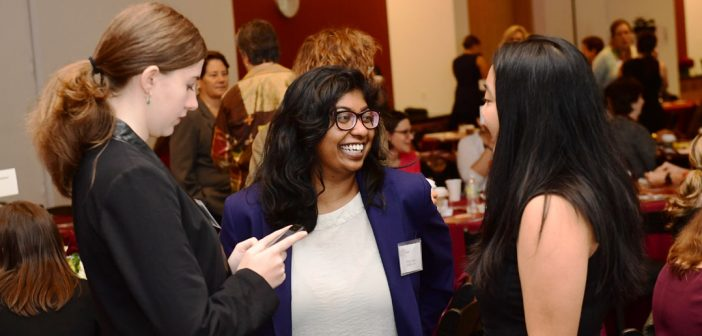 Attendees participate in a networking session at Fordham's inaugural Women's Philanthropy Summit on Nov. 6.