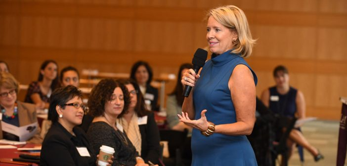 Mary Lou Quinlan, GABELLI '82, delivers talk on the importance of taking philanthropy personally.