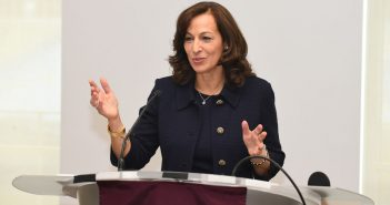 Philanthropist Susan Conley Salice delivers a presentation about 'giving circles.'