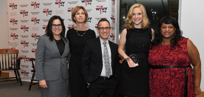 Kacie Candela, second to the right, recipient of the WFUV Award for Excellence in News Journalism.
