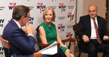 (L-R) Anthony Mason, Judy Woodruff, and Rick Wolff.