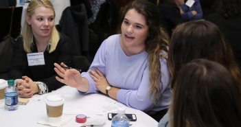 Women participate in table discussions about gender equality in advertising on Nov. 28 at Fordham's Lincoln Center campus.