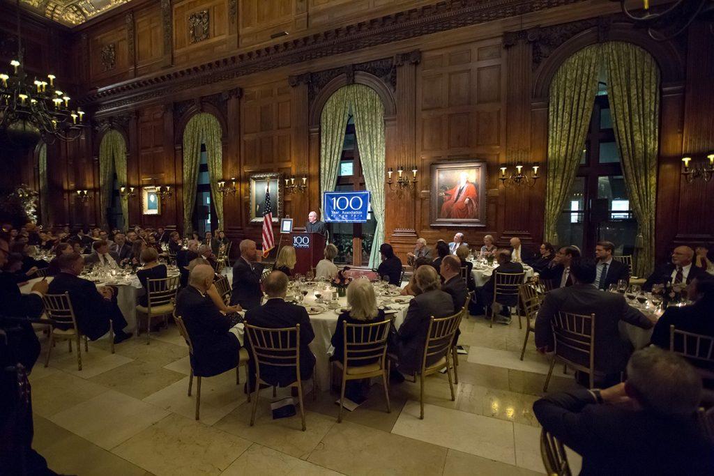 Joseph M. McShane addresses attendees at the University Club