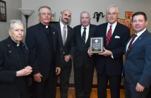 (L-R) Daniel Sullivan, S.J. professor of biology; Alumni Chaplain Daniel J. Gatti, S.J.; PCS student Kevin Knightes, president of Fordham Veterans Association; (Retired) Col. Edward Winkler, FCRH '67, LAW '72, Hall of Fame Inductee Thomas W. Hyland, FCRH '65, LAW '71; and (Retired) Master Sergeant Matthew Butler, PCS '16, director of Military and Veterans' Services at Fordham.