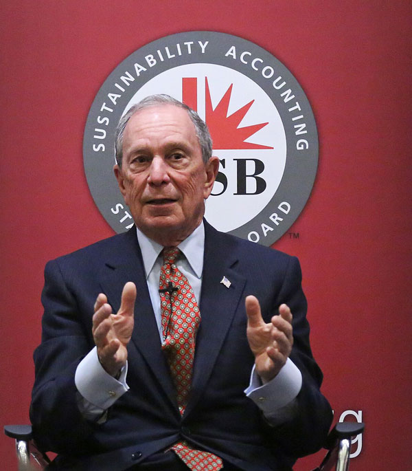 Michael R. Bloomberg discusses the future of sustainability disclosure at the 2017 SASB Symposium on Nov. 30. Photo by Bruce Gilbert.
