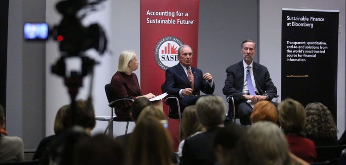 (L-R) Mary Schapiro, former chair of SEC; Michael Bloomberg, chairman of the SASB Foundation Board; and William McNabb, chairman and CEO of Vanguard.