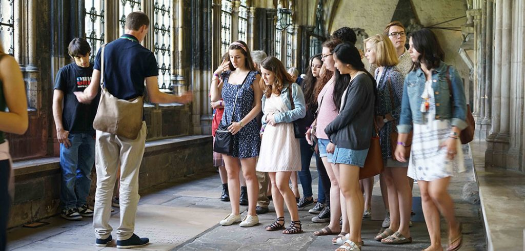 Fordham students touring the cloisters of Westminster Abbey