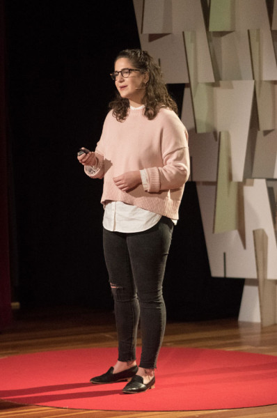 Fordham junior Olivia Greenspan speaking at the TEDx Youth event held on November 4 in Brookline, Massachusetts. (Photo by John Werner)