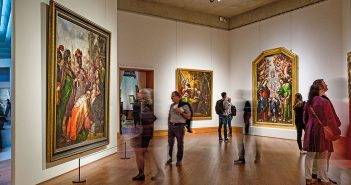 "Museumgoers at the Metropolitan Museum of Art view the exhibition ""Cristóbal de Villalpando: Mexican Painter of the Baroque"" in October 2017"