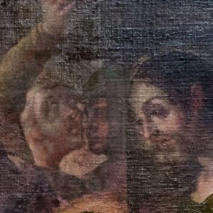 "The figure in the center of this detail image from Villalpando's ""Adoration of the Magi"" is thought to be a self-portrait of the artist. (Photo by Bud Glick)"