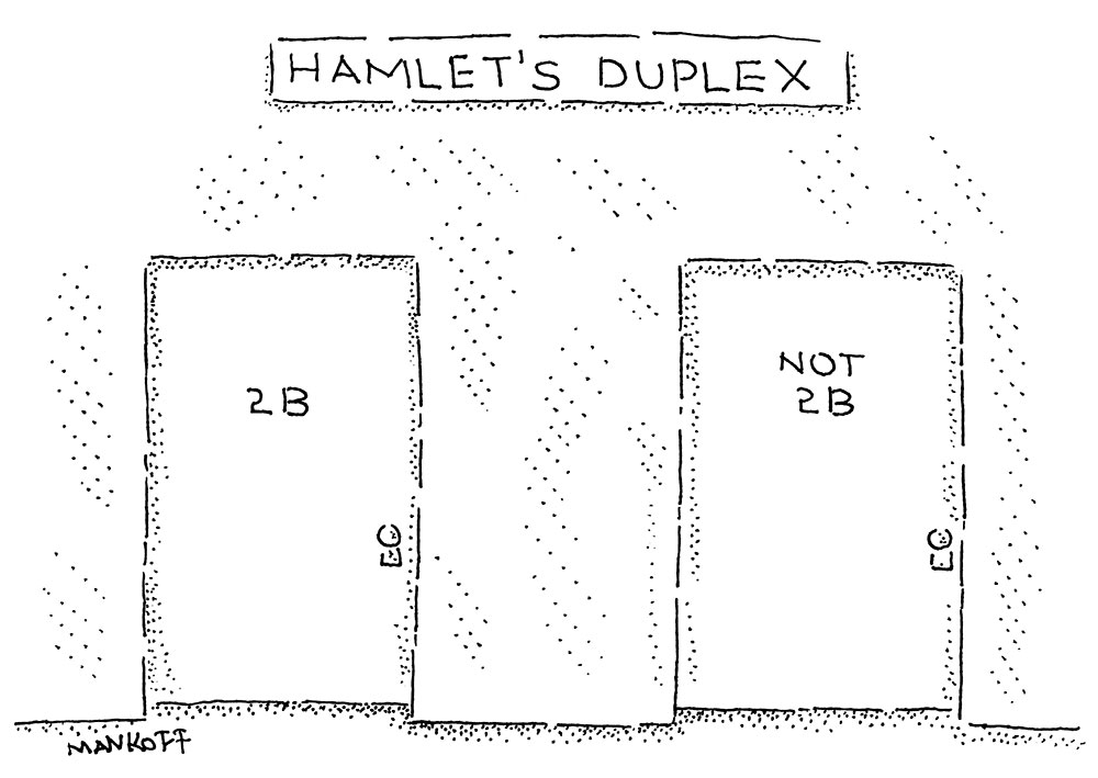 """Hamlet's Duplex,"" a New Yorker cartoon by Bob Mankoff"
