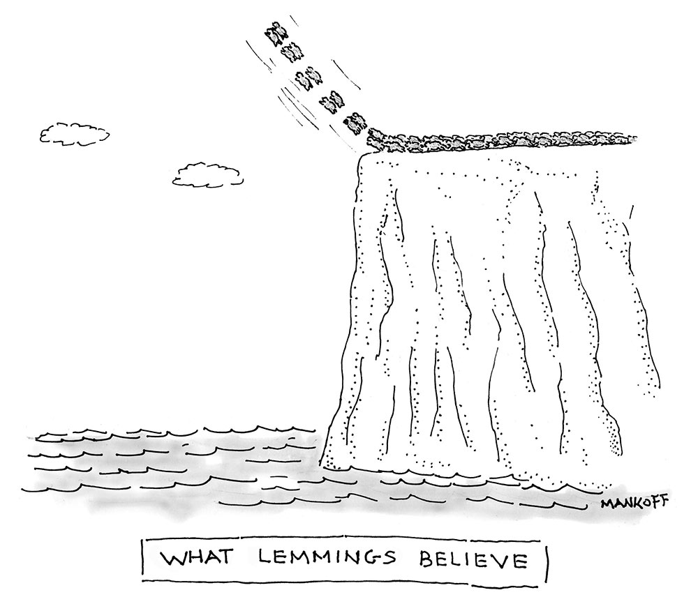 """What lemmings believe,"" a New Yorker cartoon by Bob Mankoff"