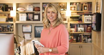Fordham MBA graduate Liz Ann Sonders, chief investment strategist at Charles Schwab, in her home office