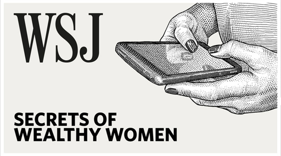 "Logo for the Wall Street Journal podcast ""Secrets of Wealthy Women,"" hosted by Fordham alumna Veronica Dagher"