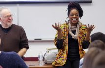 Akua Naru lectures in a Fordham Classroom