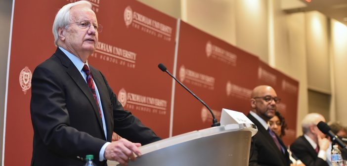 Bill Moyers addresses an audience at Fordham Law