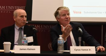 Fordham Law Professor James Kainen and New York County District Attorney Cyrus R. Vance Jr address an audience at Fordham School of Law