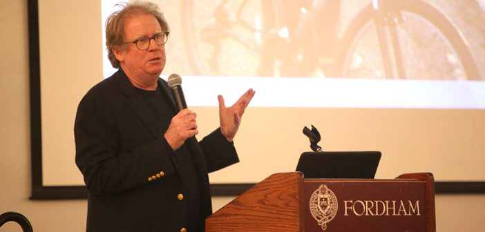 James T Fisher addresses an audience at the Rose Hill campus