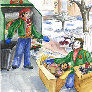 "A scene from ""Good Guy Jake"" shows the title character saving broken toys from the trash. Illustration by Madelin Arroyo courtesy of Hard Ball Press"