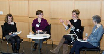 Judy Benjamin, Els de Graauw, Annika Hinze, and Jennifer Gordon discuss immigration at Fordham's School of Law