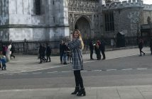 Veronika Kero in front of Westminster in London