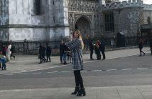 Veronika Kero in front of Westminster in London